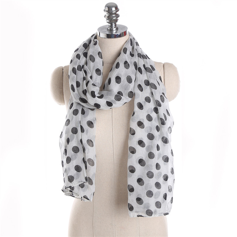 Hot Sale Spring Autumn Voile Solid Big Dot Print Scarf Shawls Summer Fashion Women Scarf Silk Pashmina Ladies Scarves And Stole