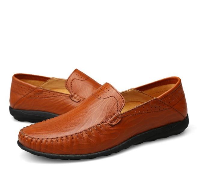 Superior Mocasines Conducción Marca Cuero black 45 Los Dark Hombres Brown Barco Zapatos Cómodos Tamaño Brown Casuales red 38 De Calidad Cyabmoz Genuino Zw778