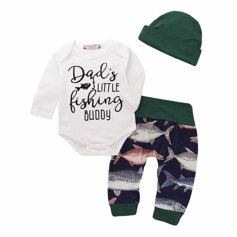 9a3a2844264ee Newborn Baby Boy Clothes Set Fishing Cotton Autumn Long Sleeve Tops Letter  Bodysuit Pants Hat Outfits Boys Clothing 0-24M 3PCs
