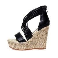 KSJYWQ Open Toe White Women Platform Sandals Genuine Leather Summer Pumps 12 Cm Sexy Wedges Thick