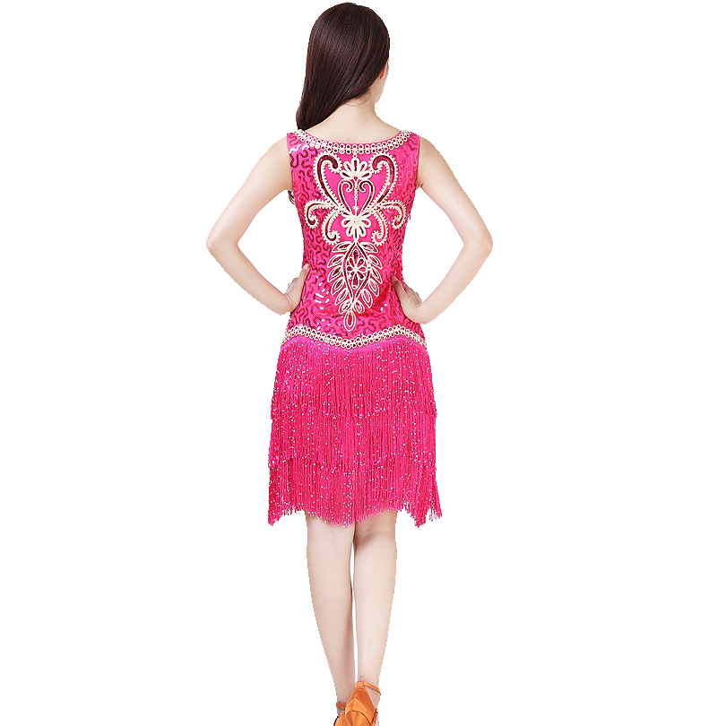 cd81b38653411 US $25.21 30% OFF|Ladies 1920s Flapper Dress Vintage Charleston Gatsby  Fringed Outfits Cocktail Latin Dance Dress Stage Competition Dress-in Latin  ...