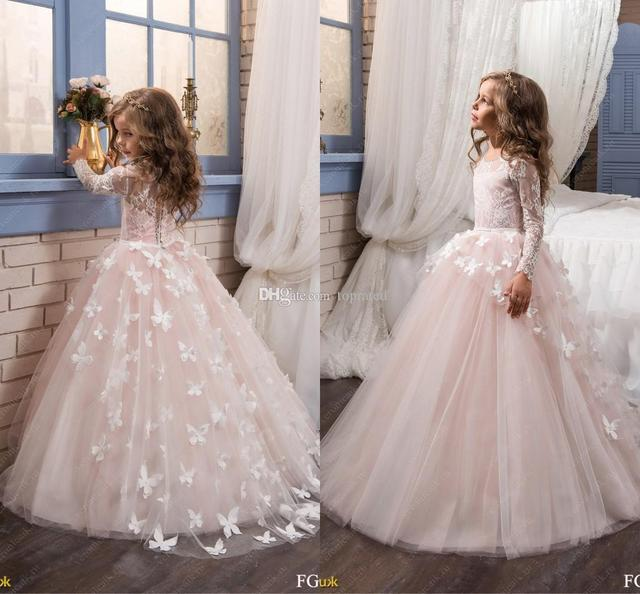 ebdb4080f Blush Pink Long Sleeve Flower Girl Dresses for Wedding 3D Flowers ...