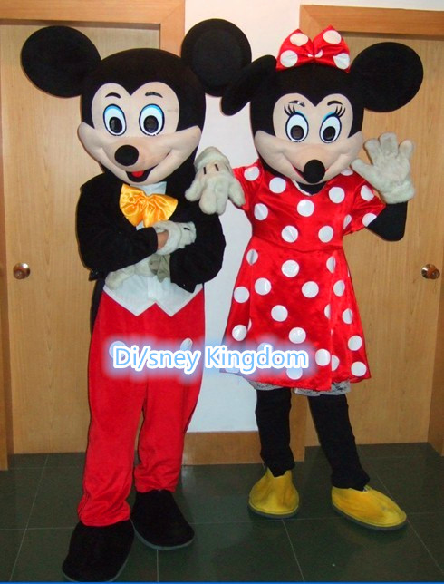 Hot Sale Red Minnie and Mic key MouseMascot Costume Adult Size Fancy Dress Holloween Costume Free
