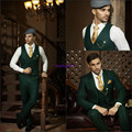 Hot Recommend Dark Green Groom Tuxedos Notch Lapel Men Blazer Prom Suit Business Suit (Jacket+Pants+Vest+Tie+Kerchief) OK:1248