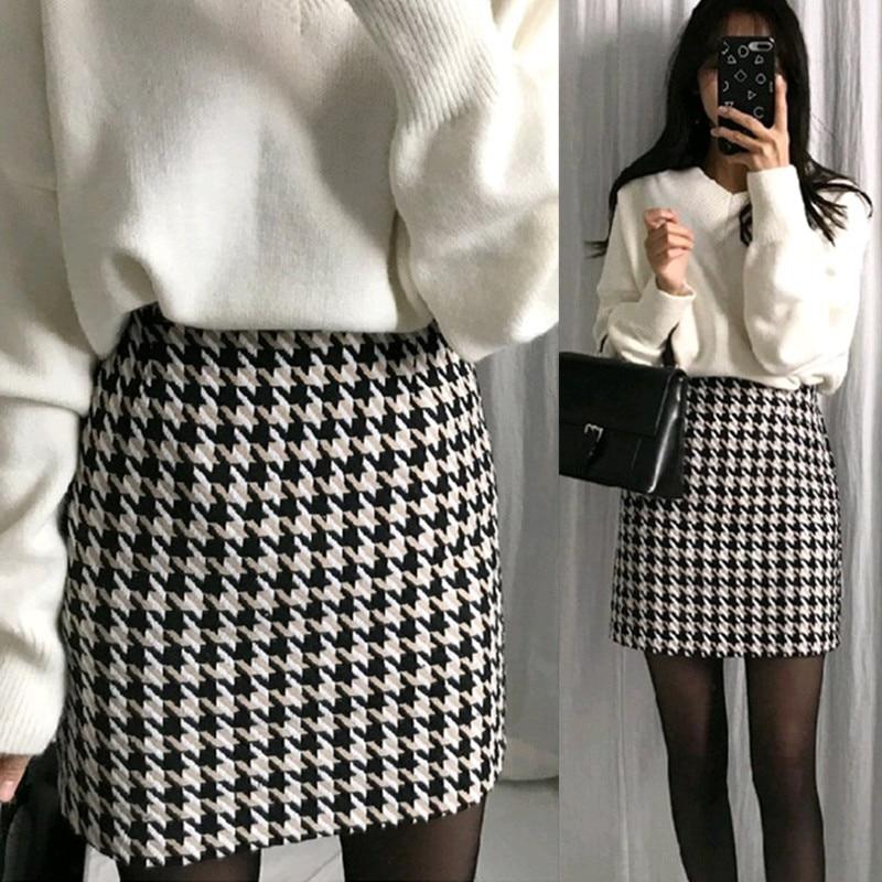 2020 High waist houndstooth bird bag arm skirt autumn and winter a word short skirt  DQ679
