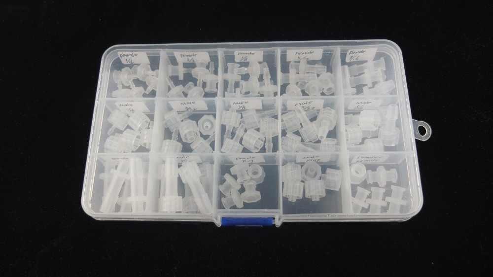 Bermacam-macam Luer Kunci Konektor (Polyprop) Luer Kunci Jarum Suntik Fitting 75 Pcs Dalam Kotak Plastik