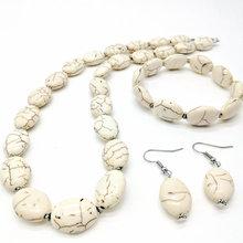 5 zestaw moda biały owalny naszyjnik bransoletka zestaw kolczyków biżuteria zestaw tanie tanio Zestawy biżuterii Ze stopów żelaza Naszyjnik kolczyki bransoletka Kobiety new ridge Party TRENDY Jajko A-055 Turquoise