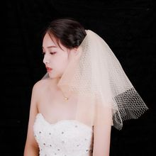 4 Tier Layered Women Wedding Veil Hollow Out Grid Mesh Short Fluffy Tulle Retro Bridal Veil Night Party Costume With Metal Combs