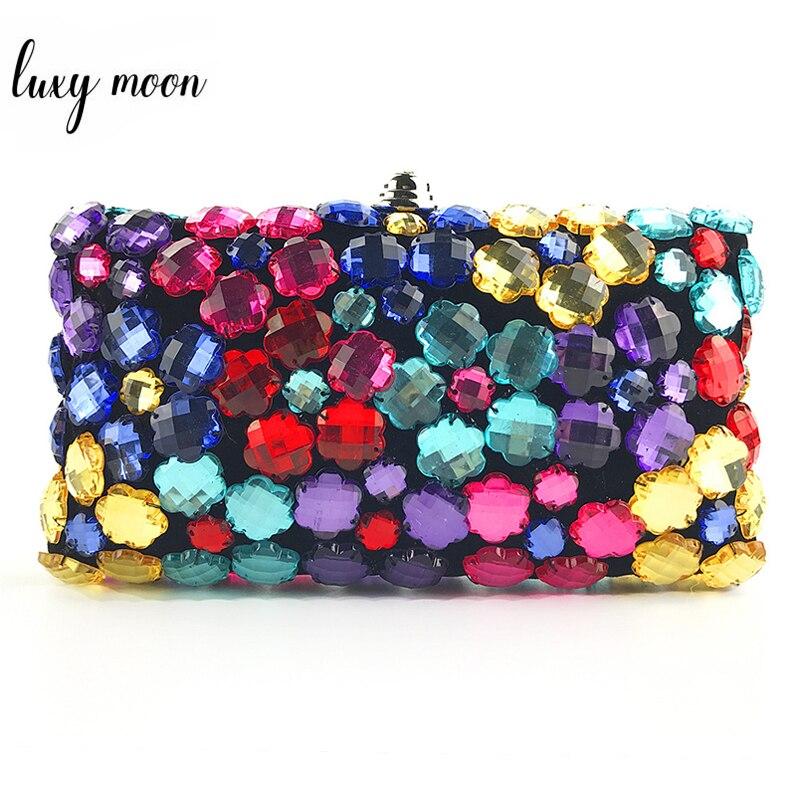 Bolsa de Embreagem Luxo Feminino Multicolorido Strass Frisado Noite Bolsa Requintado Casamento Nupcial Festa Bolso Zd1294