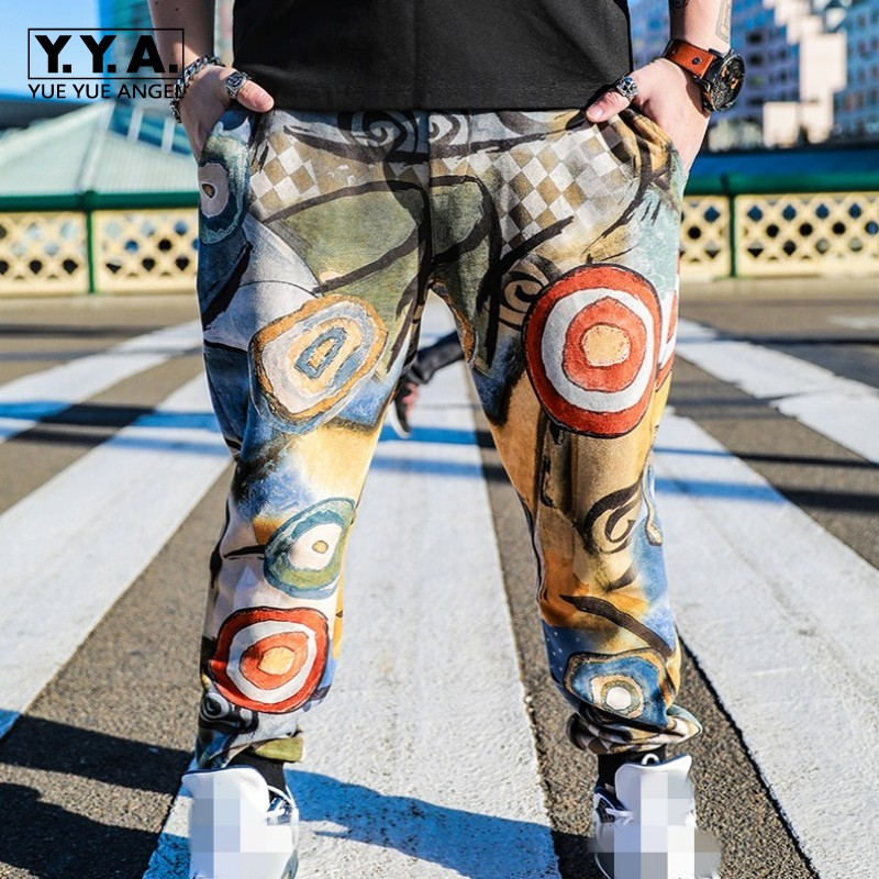 2019 New Autumn Mens Sweatpants Fashion Printing Hip Hop Trousers Male Streetwear Casual Loose Fit Harem Pants Plus Size 36-46