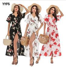 Women Floral Chiffon Dress Summer Short Sleeved V-neck  Split Up Long Boho Maxi Dresses