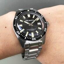 San Martin relojes automáticos de 62MAS para hombre, correa de acero resistente al agua de 200m, bisel de cerámica, de pulsera de acero inoxidable