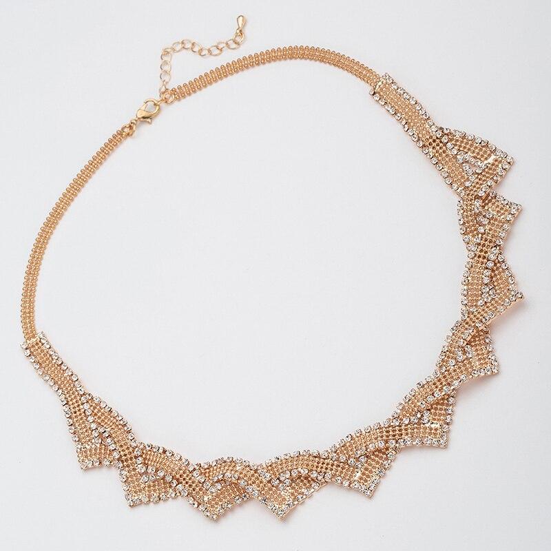 Yfjewe Женская мода ожерелье Новый горный хрусталь спирально-раны личность Треугольник Ромб серебро вырез ожерелье Роскошные N110