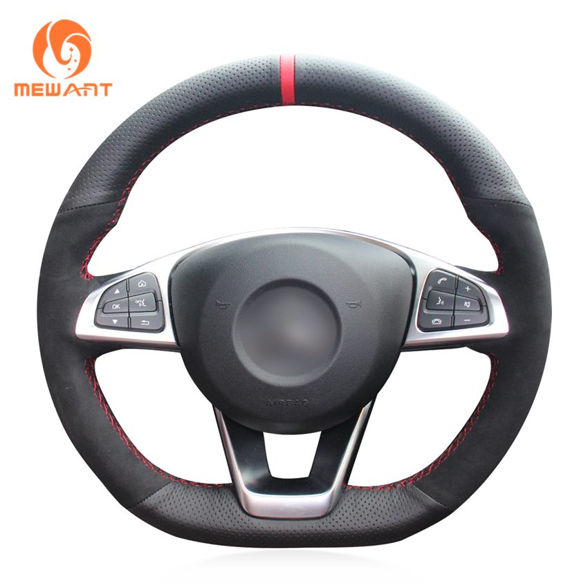 MEWANT Black Genuine Leather Black Suede Steering Wheel Cover for <font><b>Mercedes</b></font> Benz C200 C250 <font><b>C300</b></font> B250 B260 A200 A250 Sport CLA220 image