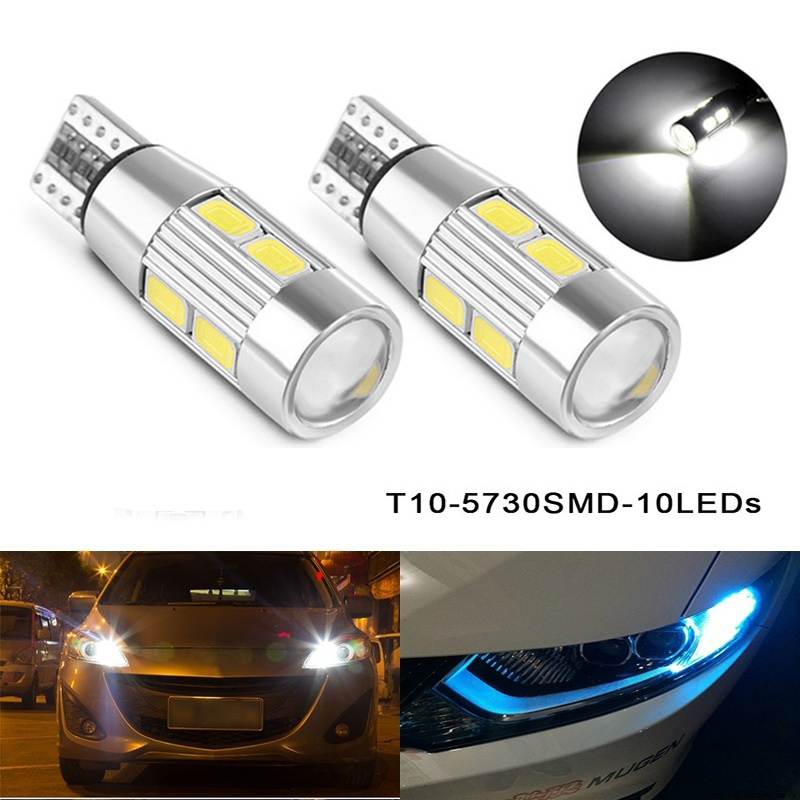 2PCS T10 LED canbus W5W 194 Interior Xenon White LED CANBUS NO OBC ERROR t10 10SMD 5630 5730 with Lens Projector Aluminum габаритные огни lx t10 10 5630 20