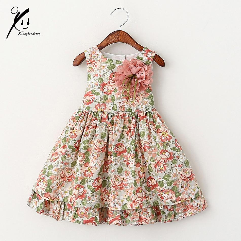 Baby Girls Dresses Floral Print Summer Party Princess Dress For Girls Costume Vintage Kids Toddler Girl Clothing XDD-511733 childrendlor baby brocade floral print
