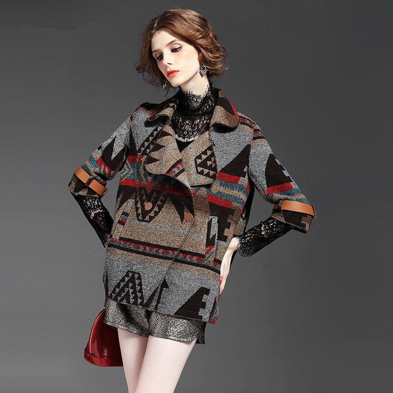 Vêtements À Boutonnage Bohème Géométrique Motif De Khaki Pardessus Double Manteau Tt454 Style Veste Femme Laine Femmes Marque qxq4ftc0z