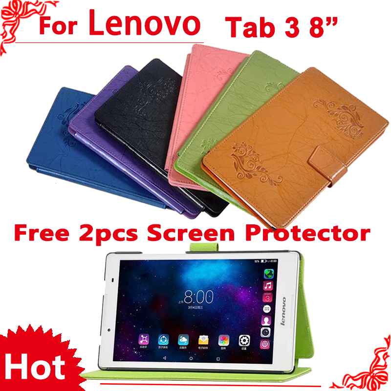 Case for Lenovo Tab 3 8 TB3 850F/TB3-850M Pu Leather Cover Case For Lenovo Tab 2 A8-50 A8-50F A8-50LC 8+ 2 pcs Screen Protector ultra slim case for lenovo tab 2 a8 50 case flip pu leather stand tablet smart cover for lenovo tab 2 a8 50f 8 0inch stylus pen