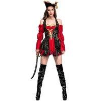 Além disso Szie XL Matador Traje Do Pirata do Dia Das Bruxas Adulto Mulheres Red Sexy Capitão Pirata Traje Cosplay Com Chapéu de Alta Qualidade
