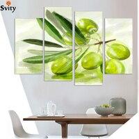 2015 Nova Impresso pintura em spray retratos da parede para cozinha 4 Painel Da Lona de Arte Moderna sala de estar decoração still life Frutas