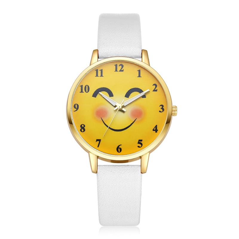 New Arrival Kids Watch Children'S Simple Leather Band Smile Watches Cute Quartz Wristwatch Boy Girls Fashion Clock 2019(China)