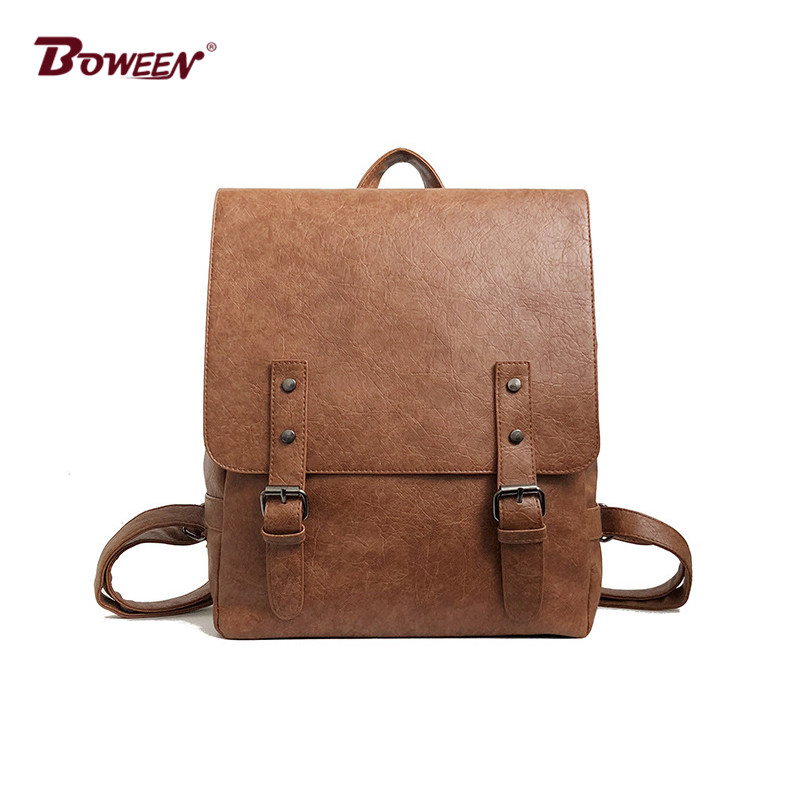 quality vintage pu leather backpack female College style fashion back bag women back pack Solid Belt buckle design bagpack original 10 1 inch lcd screen bp101wx1 400 free shipping
