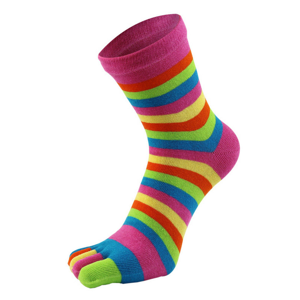 1Pair Fashion Cute Women's Girl Striped Five Finger Toe Socks Colorful Socks Warm Winter Funny For Daily Life