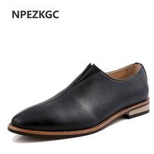 NPEZKGC Spring Autumn Loafers Men Oxford Flat Shoes Top brand Men Moccasins Shoes PU Leather Men Shoes Casual zapatos hombre