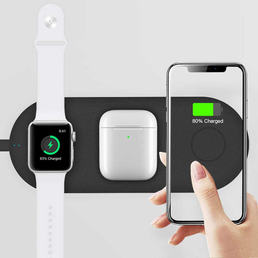 3 IN 1 QI Wireless Charger Pad for Apple Watch 5 2 3 4