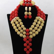 Wspaniały czerwony kostium Lady zestaw biżuterii ślubnej złota Dubai zestawy biżuterii ślubnej afryki biżuteria ustawia darmowa wysyłka WA739 tanie tanio Moda Klasyczny miss mousaie Naszyjnik kolczyki bransoletka Piłka Żywica Ślub Kobiety Necklace Earrings Bracelet Pozłacane
