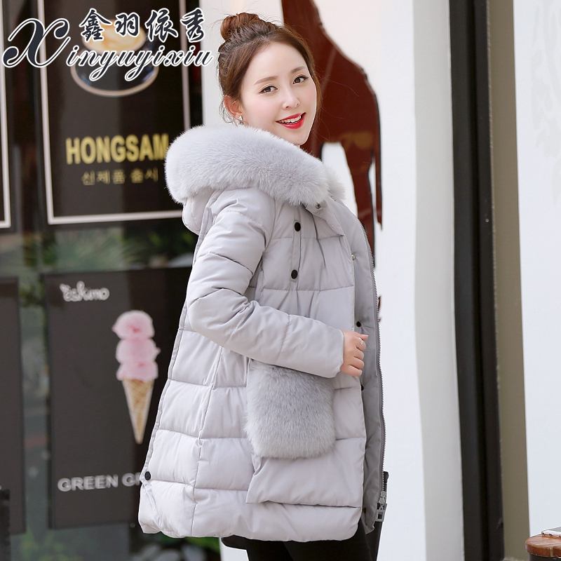 2016 new girls long thick loose padded cotton padded jacket coat size Korean