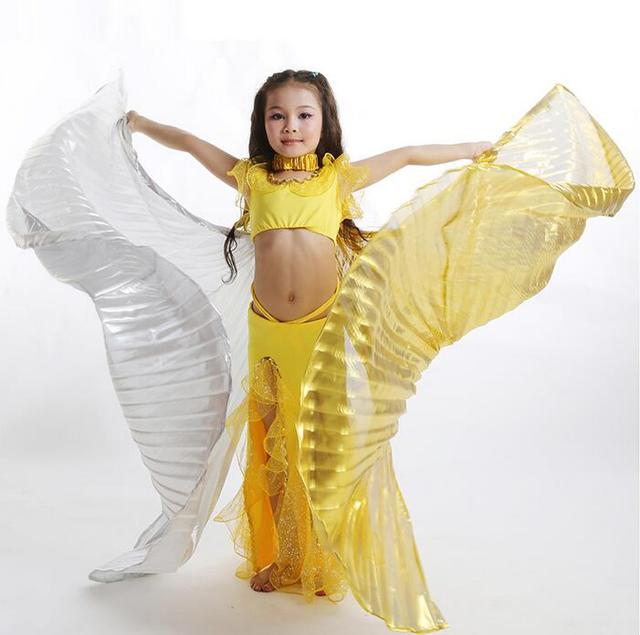 8e98b6b06f0b5 Dance Fairy Exotic Belly Dance Isis Wings For Children Kids Egyptian Belly Dance  Costume Accessory Double Color Free Shipping