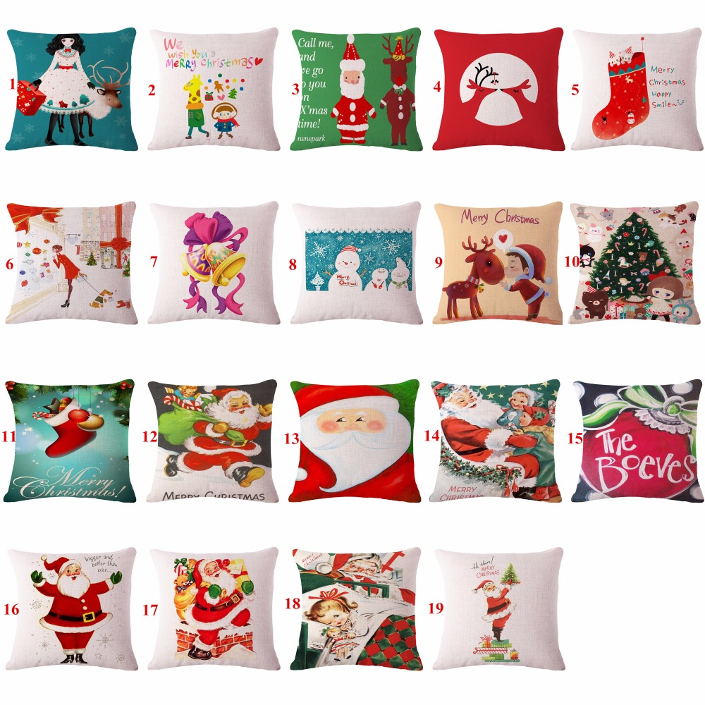 Home Decorative throw pillows case Merry Christmas Cotton Linen Cushion cover Santa Claus Pillowcase For Child Gift