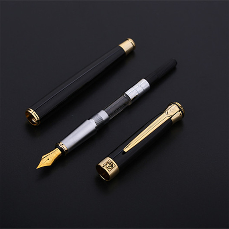 1pc/lot Picasso Black 903 Fountain Pens Gold Clip Sweden Flower King Series Pimio Fast Writing Canetas Stationery 13.6*1.3cm