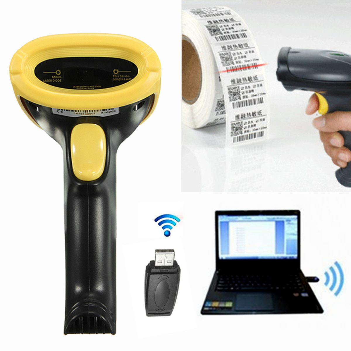 2.4GHz Portable Barcode Scanner USB WIFI Handheld Visible Wireless Laser Cordless Barcode Reader For Supermarket Shop usb laser handheld barcode scanner reader for desktop laptop 2m cable page 1