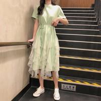 Summer Dresses 2019 sweet Kawaii lace Mesh Patchwork Short Sleeve Black White Dress Casual T Shirt Dress Women Clothing
