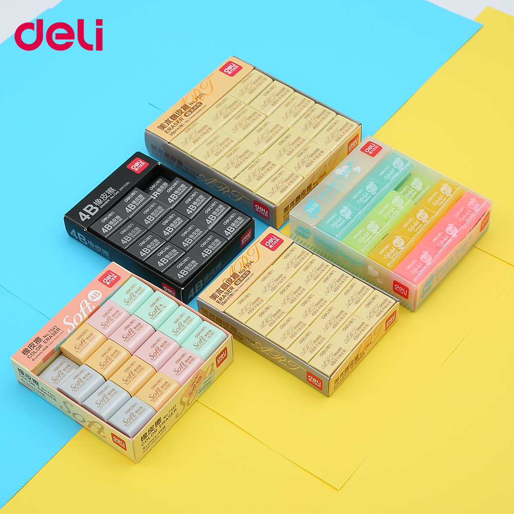 Deli 4B Pencil Rubber Erasers 1pcs/set Colorful Soft Art Durable Ductile Cute Kawaii Jelly Colored  For School Kids