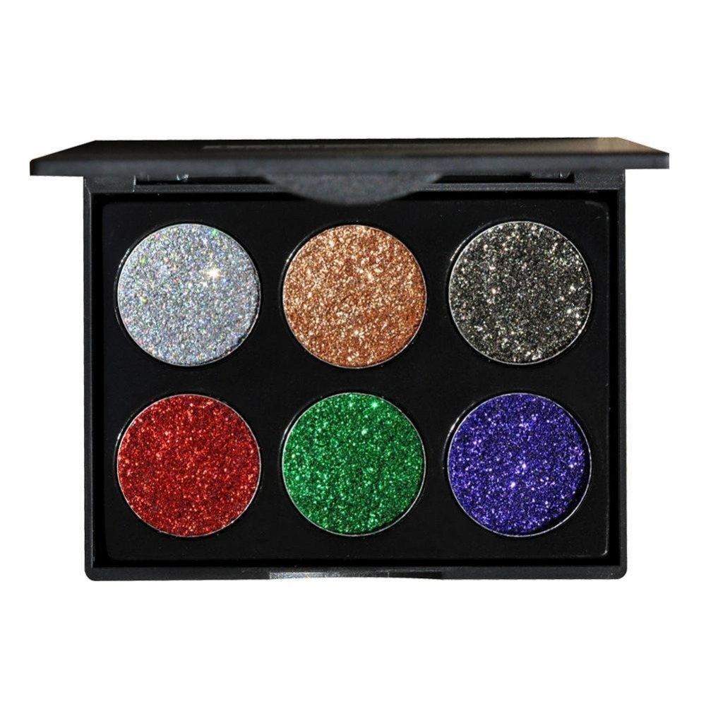 Official Website 2017 Professional Eyeshadow Palette Glitter Makeup Waterproof Diamond Pigment Eyes 6 Color Gold White Purple Blue Eye Shadows Beauty Essentials