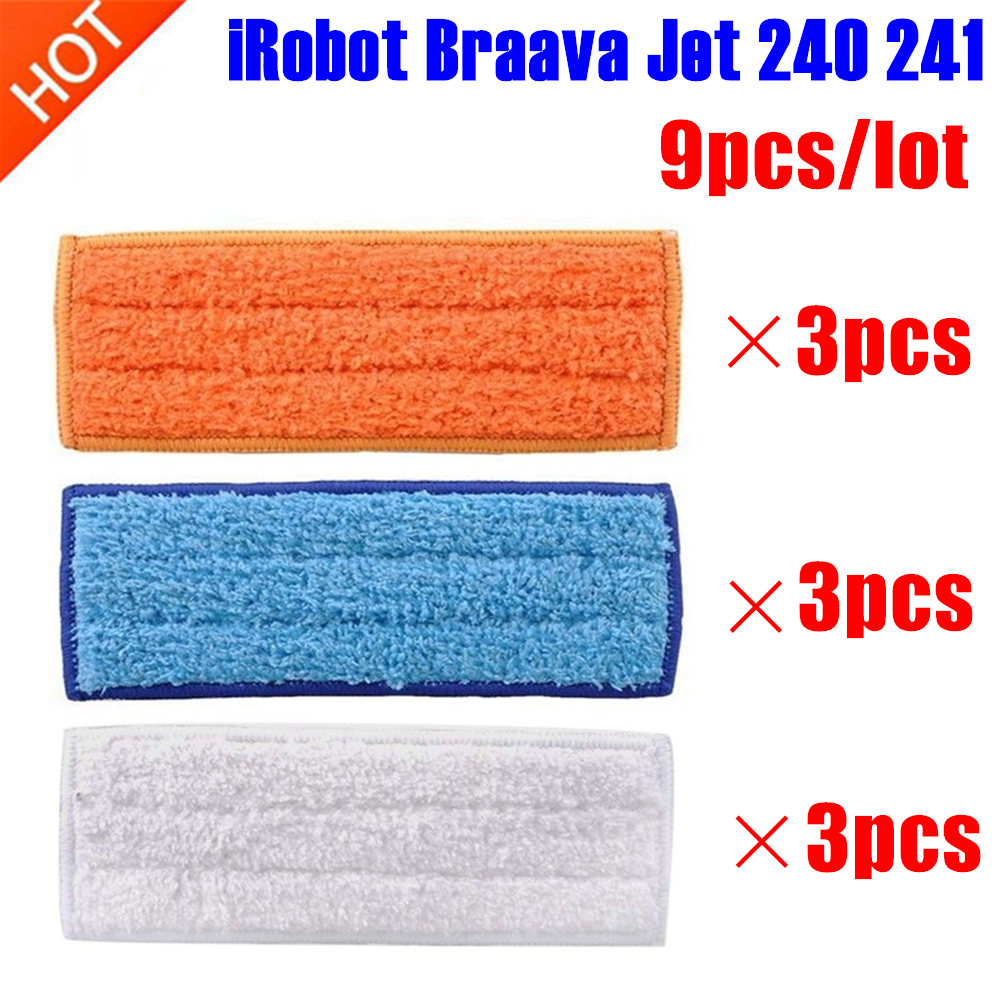 9 Pcs/lot Robot Cleaner Brushes Spare Parts 3pcs Wet Pad Mop +3pcsDamp Pad Mop + 3pcs Dry Pad Mop For IRobot Braava Jet 240 241