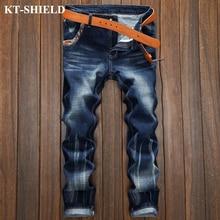 Мужская мода Джинсовая Жан Брюки Весна Новый Прямой Slim fit Masculina Рваные Голубые Casual Male Брюки Pantalones Vaqueros
