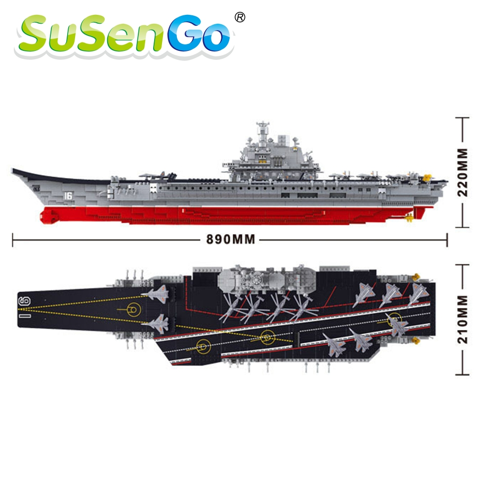 Aircraft Carrier Military Building Block Set 1:350 3D Construction Brick Educational Hobbies Toy For Kids Compatible with lego