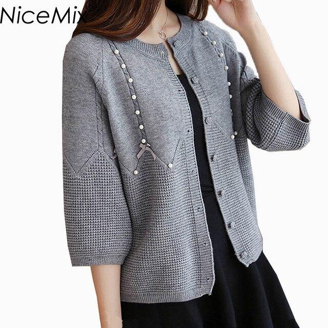 NiceMix 2017 Winter Sweater Coats Women Slim Knitted Cardigan Pearl Beading Sweet Plus Size Women Cardigans Pull Femme