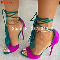 Ravryy summer fringed high heel sandals Purple Suede Leather Multi color sandals gladiator Shoes Lace Up thin heels shoes