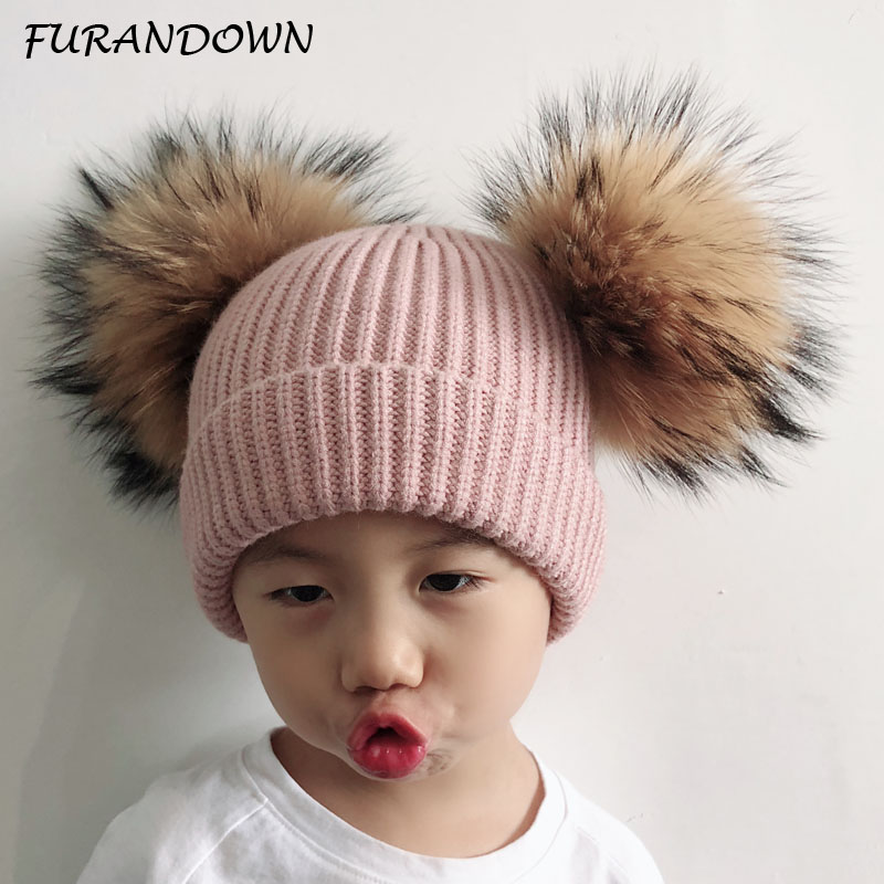 2018 Kids Pom pom Hat Baby Winter Wool Hat Cap Girls Boys Knitted   Skullies     Beanies   Two Fur Pompom   Beanie   Hat For Children