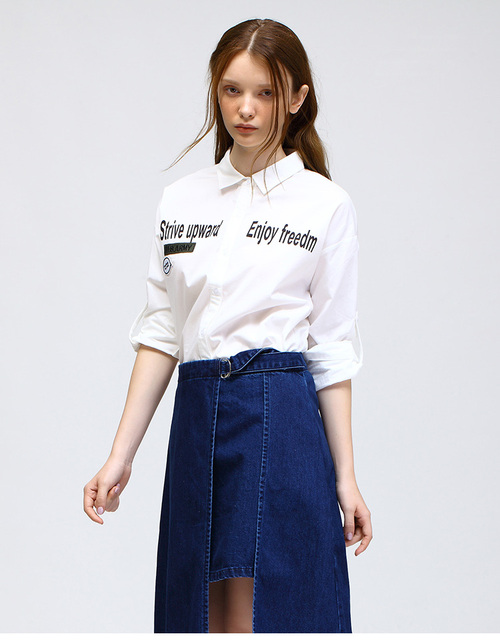 Spring New Cotton Letters Print Badge Lapel Button Long Sleeve Women Blouses White Casual Shirts