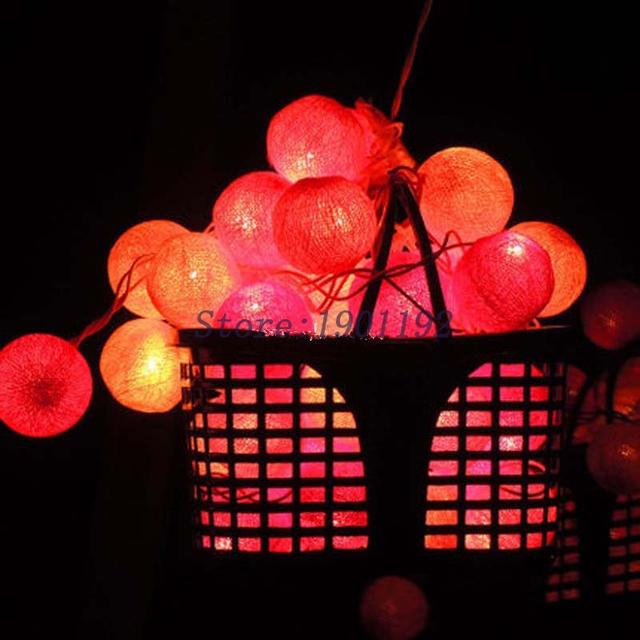 2.5 m 20 red-orange-amarelo tecido de algodão leve bola tailândia luzes luces navidad natal festa de casamento de fadas decoração de casa