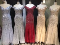 2018 в наличии сексуальные платья русалка выпускного вечера с коротким рукавом вышитое кристаллами вечернее платье Новый дизайн удивительны