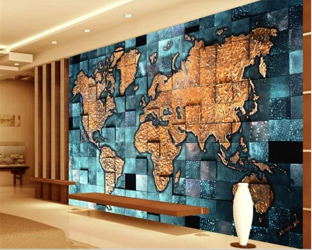 US $8.85 41% OFF beibehang USA retro world map mural wallpaper 3d embossed  interior decoration bedside TV background wallpaper for walls 3 d-in ...