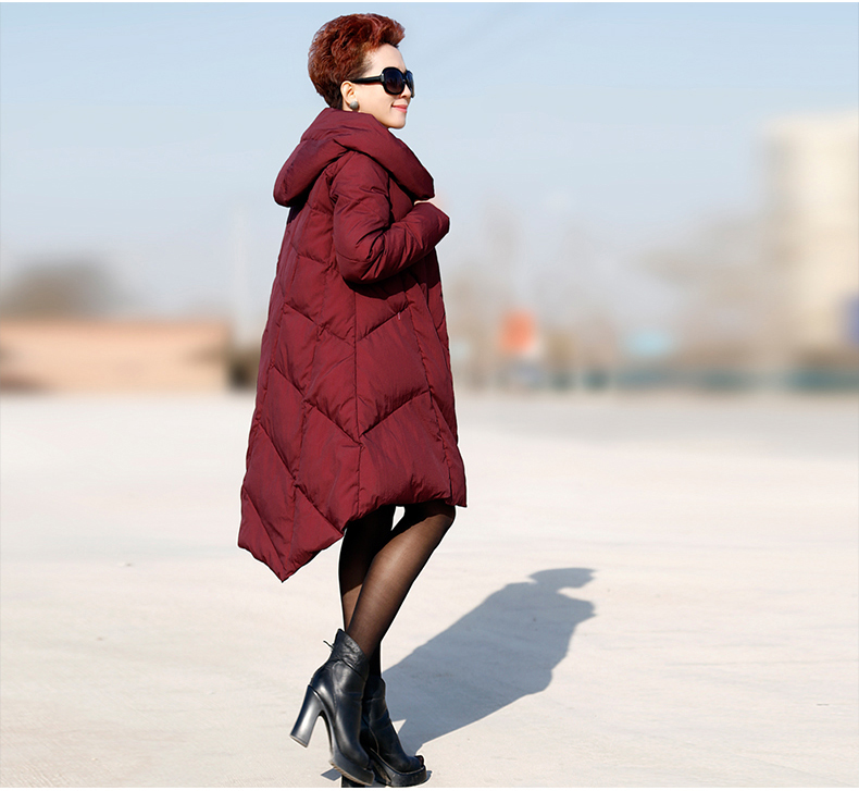 2018 new winter plus size jacket and long sections loose big yards was thin female coat Hooded A font