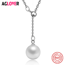 Фотография AGLOVER 925 Sterling Silver Women Necklace Fashion Charm Natural 10mm Pearl Round Pendant Silver Necklace Female Fine Jewelry